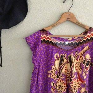 Vintage 70s 80s purple Thai print sundress